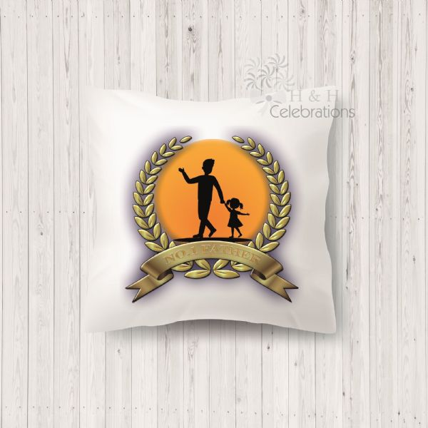 No 1 Father And Daughter Laurel Silhouette Personalised Cushion